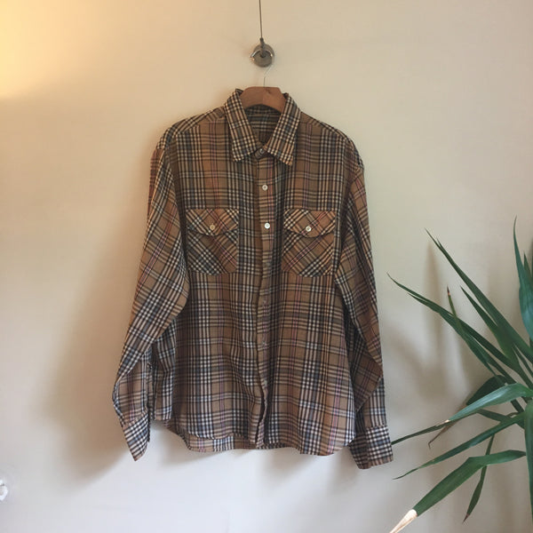 Mens vintage Moving Up plaid Oxford // size XL xlarge //  lumberjack cowboy boho hippie indie rocker western // unisex // hey tiger louisville kentucky