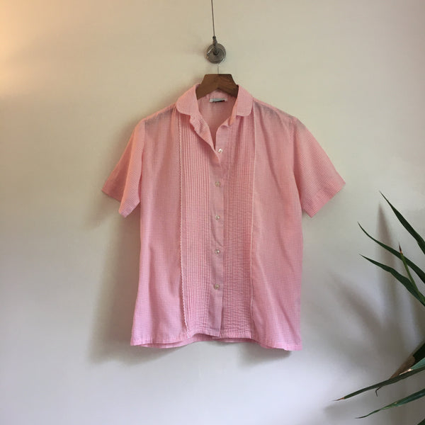 Vintage 50s 60s Pink & White Gingham Print blouse button up Blouse // retro summer preppy // hey tiger louisville kentucky