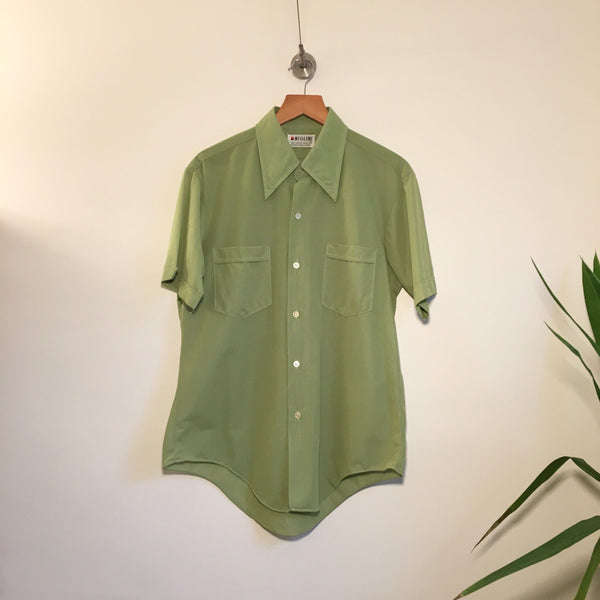 Vintage 60s 70s Mint Green Ny-O-Lene Button Up // Unisex Size  Medium // hey tiger louisville kentucky