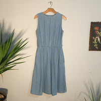 Vintage 80s 90s Daisy Chain denim dress with Pockets // size 14 Petite // nineties grunge Boho Granny Chic // hey tiger louisville kentucky