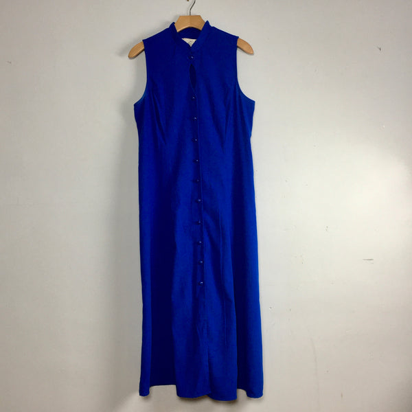 Vintage 90s royal blue keyhole button front maxi dress // size 14 // spring summer minimalist // hey tiger louisville kentucky