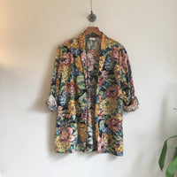 VTG Cheri-Alan Ltd Floral blazer suit jacket // Size Medium // Spring Summer Pixelated Watercolor // Made in USA // hey tiger louisville kentucky