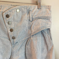 Vintage Z Cavaricci Ultra high Rise Pleated denim Cut Off shorts // Size 33 inch waist // hey tiger louisville kentucky