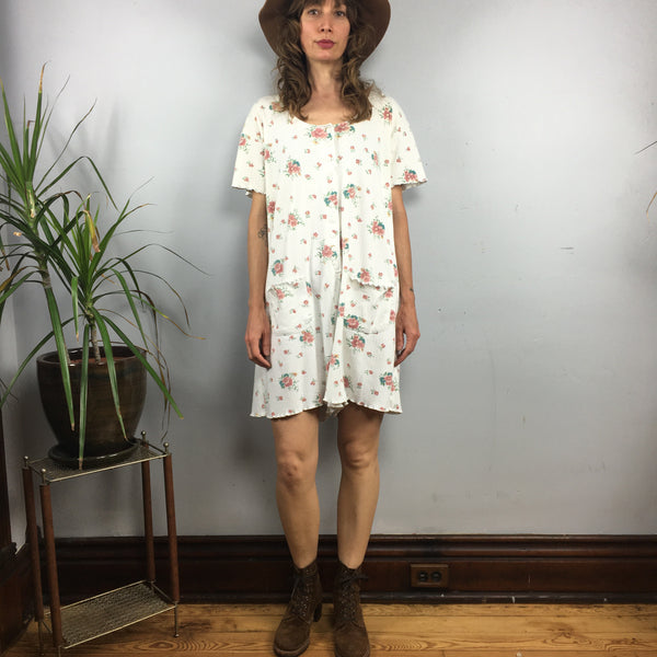 Vintage 90s floral ribbed button front romper  // playsuit onesie shortalls overalls one piece Sleepwear // summer festival beach // hey tiger louisville kentucky