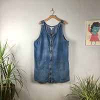 Vintage 90s Plus Size denim suspender dress jumper pinafore // size 38/24W // retro grunge boho overalls // hey tiger louisville kentucky