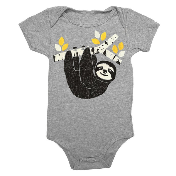 Sloth baby one piece is printed by hand on a high quality, sweatshop-free super soft infant bodysuit by Gnome Enterprises // hey tiger louisville kentucky