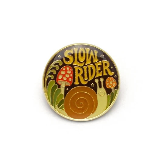 Slow Rider Retro Style Snail Enamel Pin by Lucky Horse Press // Hey Tiger Louisville Kentucky