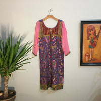 Vintage Indian Embroidered midi length tunic dress // mumu kaftan gown // boho hippie festival ethnic traditional // hey tiger louisville kentucky