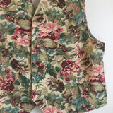 Vintage Vivaldi Jeanswear Floral Denim Vest // Size Large // made in USA // hey tiger louisville kentucky