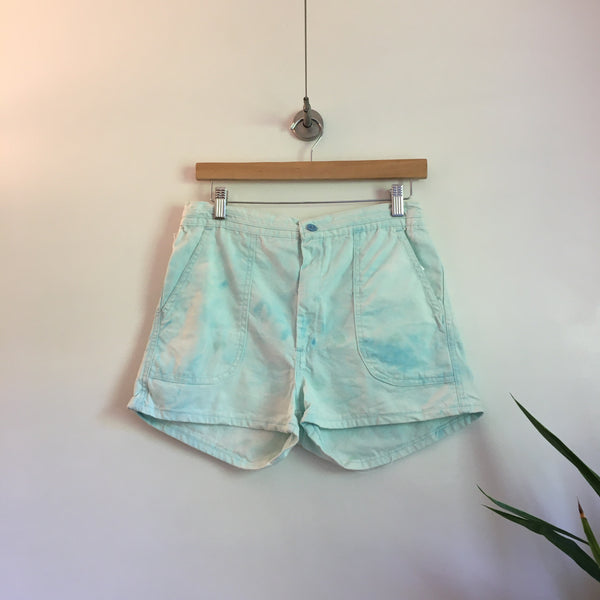 Vintage Bleach Dyed high waist Board shorts // Size 30 inch waist // hey tiger louisville kentucky