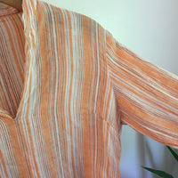 Vintage Cotton World Corp Coral Striped Shirt // retro Boho Hippie // hey tiger louisville kentucky