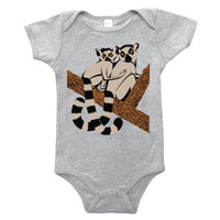 Our Lemur Friends baby one piece is printed by hand on a high quality, sweatshop-free super soft infant bodysuit by Gnome Enterprises // hey tiger louisville kentucky