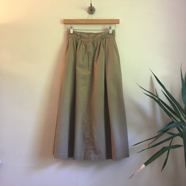 Vintage 90s Minimalist Pleated Cotton midi skirt with pockets // Size 6 // boho hippie summer festival retro // hey tiger louisville kentucky
