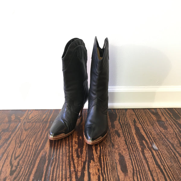 Vintage 70s Balloon black leather boots with stacked heel // size 6 1/2 7 // spring country boho western // hey tiger louisville kentucky