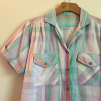 Vintage 70s 80s pastel Plaid blouse // colorblock button up shirt // retro summer preppy // hey tiger louisville kentucky