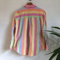 Vintage 80s 90s JeansWear rainbow striped oxford shirt blouse // size Medium // retro spring summer // hey tiger louisville kentucky