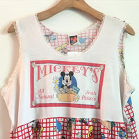 Vintage Disney Mickey Mouse Unlimited sleeveless dress night gown // size Large L // Daisies Floral Flowers // hey tiger louisville kentucky