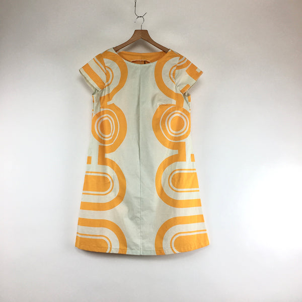 Marigold Geometric Mod Print Dress with Pockets Handmade by Retroverkstán // One Size // hey tiger louisville kentucky