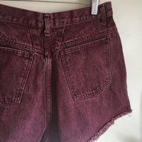 Vintage 80s 90s FORENZA high waist Pleated Plum Stone wash denim jean shorts size 14 // summer festival rocker hipster retro // hey tiger louisville kentucky
