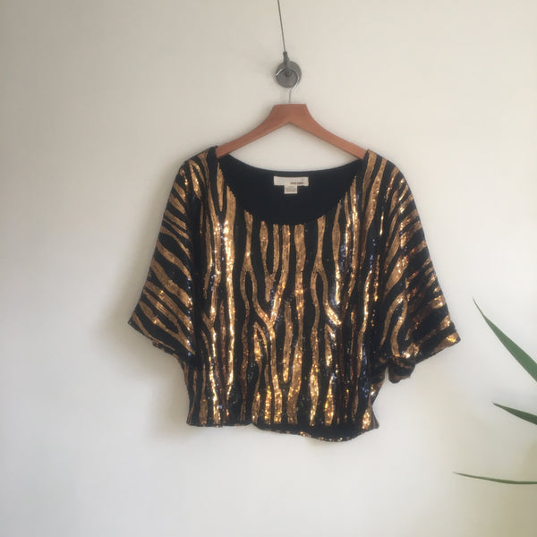 Retro Style boxy cropped Tiger Striped sequin top // Size Large // glam party // hey tiger louisville kentucky