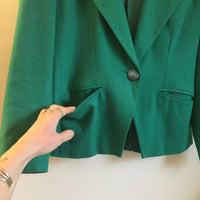 Vintage 90s Gilmor Kelly Green Wool blazer suit jacket coat // women's size 8 // hey tiger louisville kentucky
