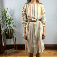 Vintage retro ILSE M Striped Linen dress // size medium large // 70s 80s style // hey tiger louisville kentucky