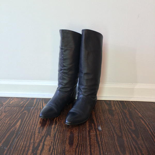 Vintage West 31st 80s leather fold over slouchy pirate boots with low heel size 8.5 // hey tiger louisville kentucky