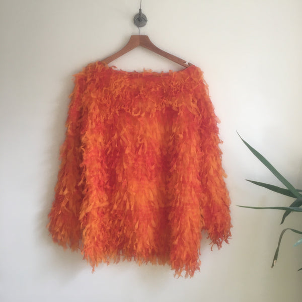 Vintage Vibrant Shaggy Fringe Pullover // medium large // grunge club kid Rave street style // hey tiger louisville kentucky