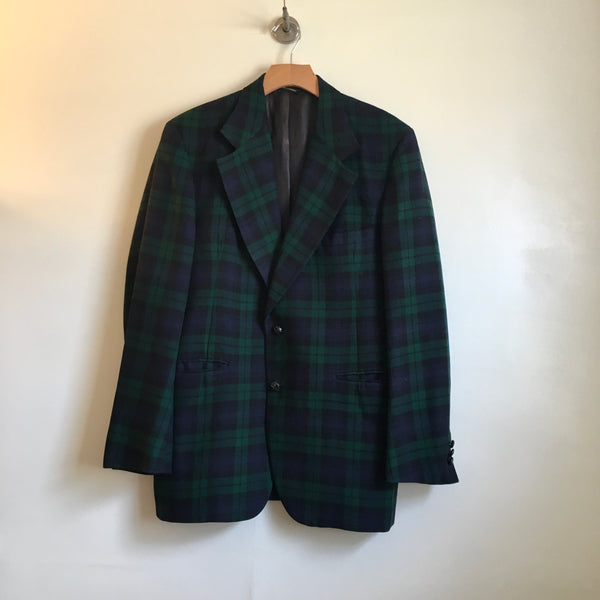 Vintage AYRES Men's Store Plaid Wool Blazer Suit Jacket Coat // Made in USA // hey tiger louisville kentucky