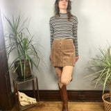 ReMADE Upcycled Button Front Corduroy Mini Skirt // small medium