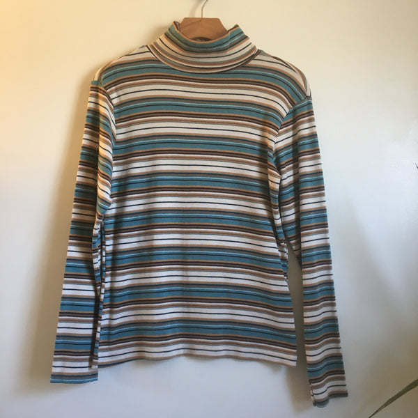 Vintage 90s Bobby Brooks Striped Turtleneck pullover // size Medium // hey tiger louisville kentucky