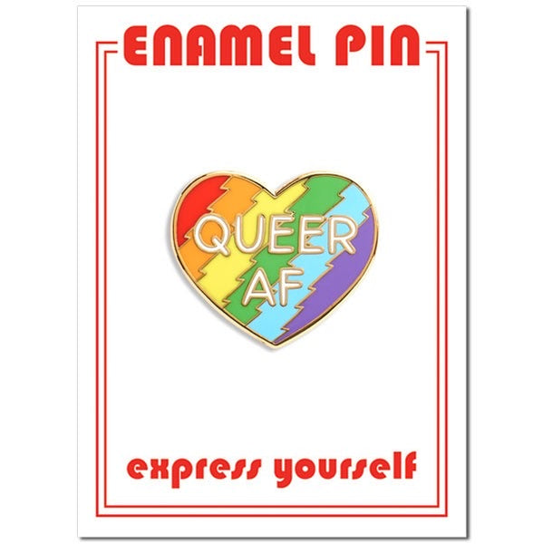 Queer AF Rainbow Heart Enamel Pin by the Found // hey tiger louisville kentucky