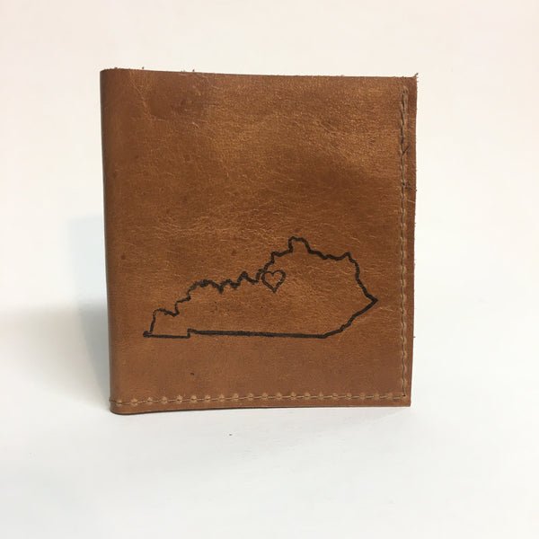 Louisville Love Hand Sewn Leather Wallet handmade by In blue // hey tiger louisville kentucky