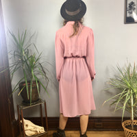 Vintage 70s 80s Byer Too! Semi Sheer Blush long sleeve dress // Size 11 retro disco style // hey tiger louisville kentucky