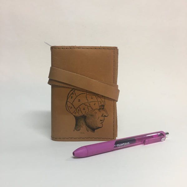 Phrenology Handmade Leather Bound Mini Journal by In Blue // Hey Tiger Louisville Kentucky