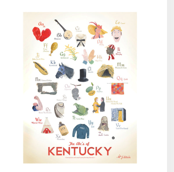 ABC'S OF KENTUCKY PRINT by rob bridges // kentucky for kentucky // hey tiger louisville kentucky