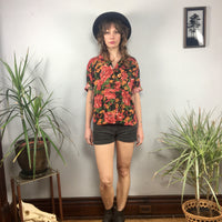 Vintage Essex Junction 80s 90s  floral print button front blouse // size 14 // summer retro beach // hey tiger louisville kentucky