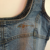 VTG 90s FUBU Denim & Lace Cami Crop Top Bra // size 3/4 // HIP Streetwear // hey tiger louisville kentucky