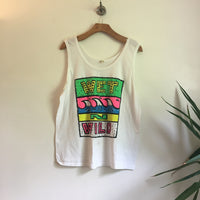 Vintage 80s 90s Wet N Wild Tank Top Muscle tee // Size XL // neon day glo festival summer // souvenir shirt
