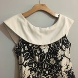 Vintage Sleeveless Boatneck floral Print Dress // Black & White // boho summer festival wedding // hey tiger louisville kentucky