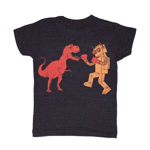Kid's Dino vs Robot t-shirt is printed by hand on a high quality, sweatshop-free super soft tri-blend tee by Gnome Enterprises // hey tiger Louisville Kentucky