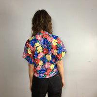 Vintage 80s 90s Gianna vibrant floral print button front blouse // size small medium large // summer retro beach // hey tiger louisville kentucky