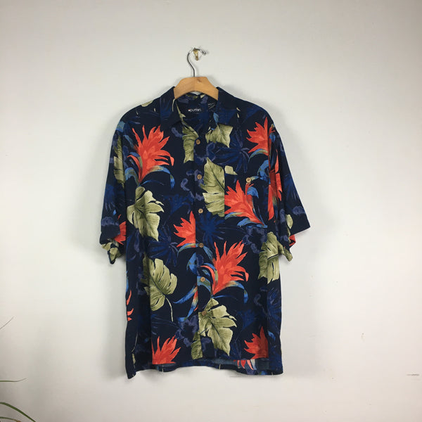 Vintage Unisex 90s Puritan Floral Hawaiian Shirt // Size Men's Large // retro summer Beach Style // hey tiger louisville kentucky