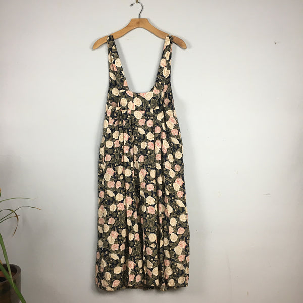 Vintage 90s floral button front suspender dress jumper with pockets // size Small //  boho grunge fall back to school // hey tiger louisville kentucky