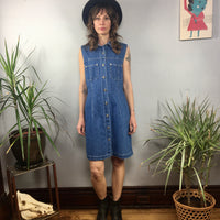 Vintage 90s denim Button Front mini dress jumper // size Medium // nineties grunge prep // hey tiger louisville kentucky