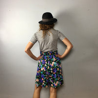 Vintage 80s 90s ultra high rise floral// culottes shorts // Size Large // Made in USA // hey tiger louisville kentucky