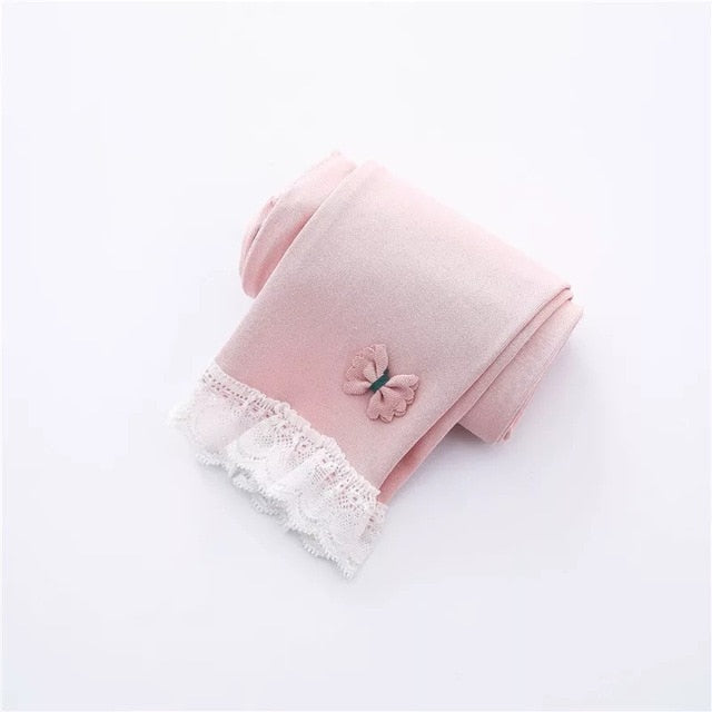 Spring Autumn Cotton Baby Pantyhose  Lace Bow Children Pants Girls Ankle-length Flexible Warmer Leggings Baby Girl Leggings
