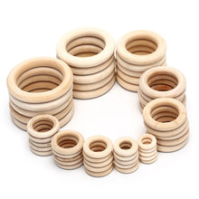 Load image into Gallery viewer, 5/10/20/50pcs Natural Wood Teething Beads Wooden Ring Children Kids DIY Wooden Jewelry Making Crafts 10 Size