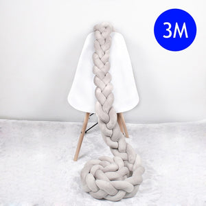 1M/2M/2.5M/3M/4M Length Newborn Baby Bed Bumper Pure Weaving Plush Knot Crib Bumper Kids Bed Baby Cot Protector Baby Room Decor