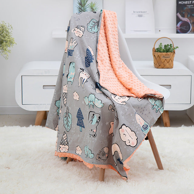Soft Breathable 2019 New 100% Cotton Cartoon Baby Blanket Beanie Kids Quilt Peas Blanket For Pram Baby Carriage Stroller Covers